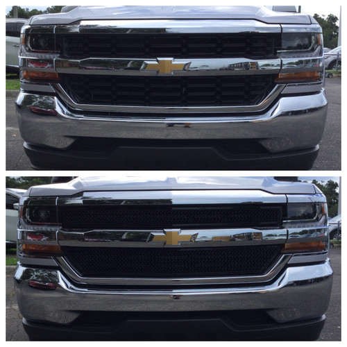Glossy Black Grille Overlay for Chevy Silverado 1500 2016-2018