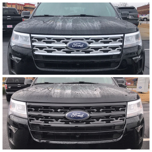 Glossy Black Grille Overlay for Ford Explorer 2018