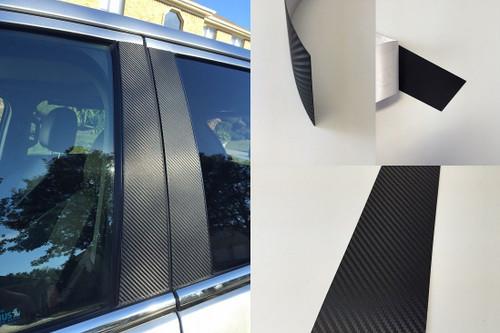 Chevy Silverado Crew Cab 2014-2018 Vinyl Black Carbon Fiber Pillar Posts Trim 4PCS