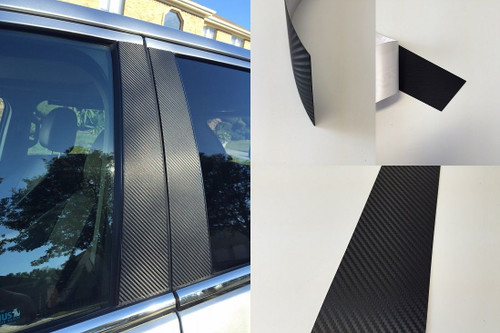 Cadillac XTS 2013-2018 Vinyl Black Carbon Fiber Pillar Posts Trim 8PCS