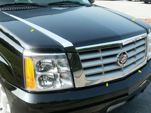 Stainless Steel Chrome Hood Trim 4Pc for 2002-2006 Cadillac Escalade HT42255