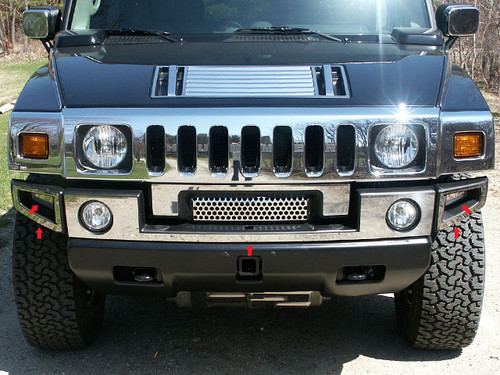 Stainless Steel Chrome Front Bumper Accent 5Pc for 2003-2009 Hummer H2 HV43007