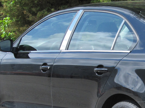 Compatible with Volkswagen Jetta 2005-2010 1 Width 4-Door, Sedan 4PC 707Motoring Stainless Polished Chrome Window Sill Trim Set