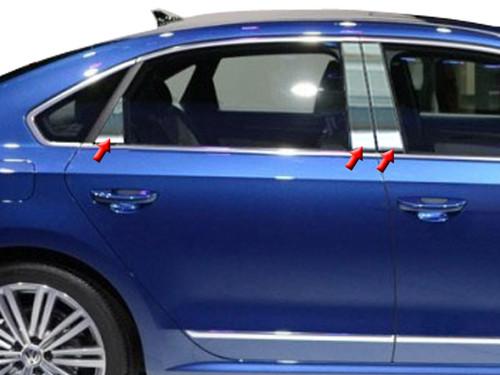 Stainless Steel Chrome Pillar Trim 6Pc for 2012-2019 Volkswagen Passat PP12676