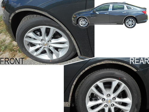 Stainless Steel Chrome Wheel Well Trim 4Pc for 2016-2020 Chevy Malibu WQ56105