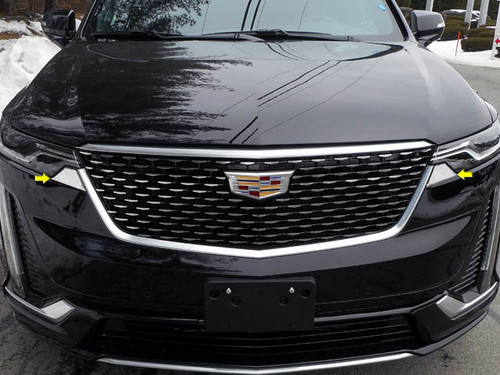 Stainless Steel Chrome Headlight Accent 2Pc for 2020 Cadillac XT6 HL60210