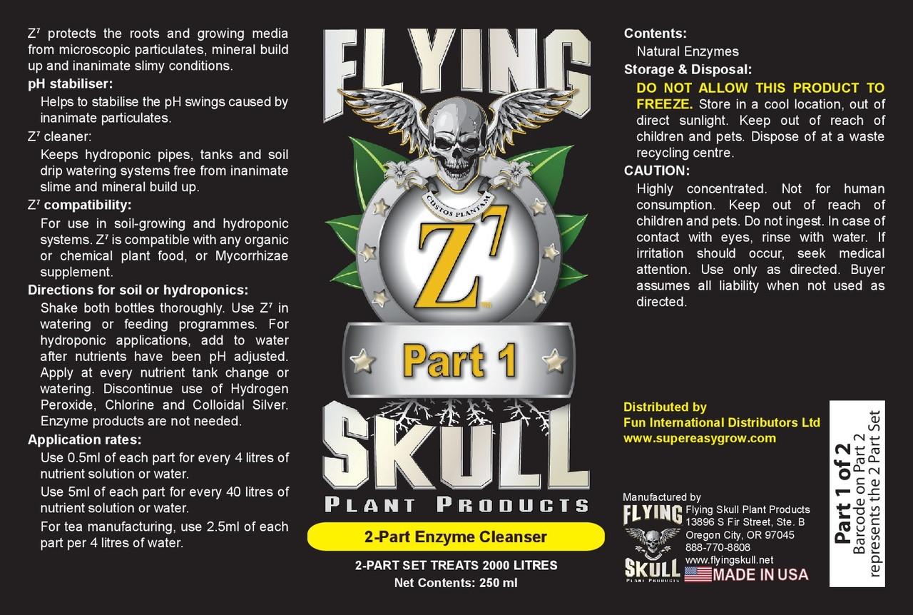 Flying SKull Z7 Enzyme Cleanser 250ml Bottles Label