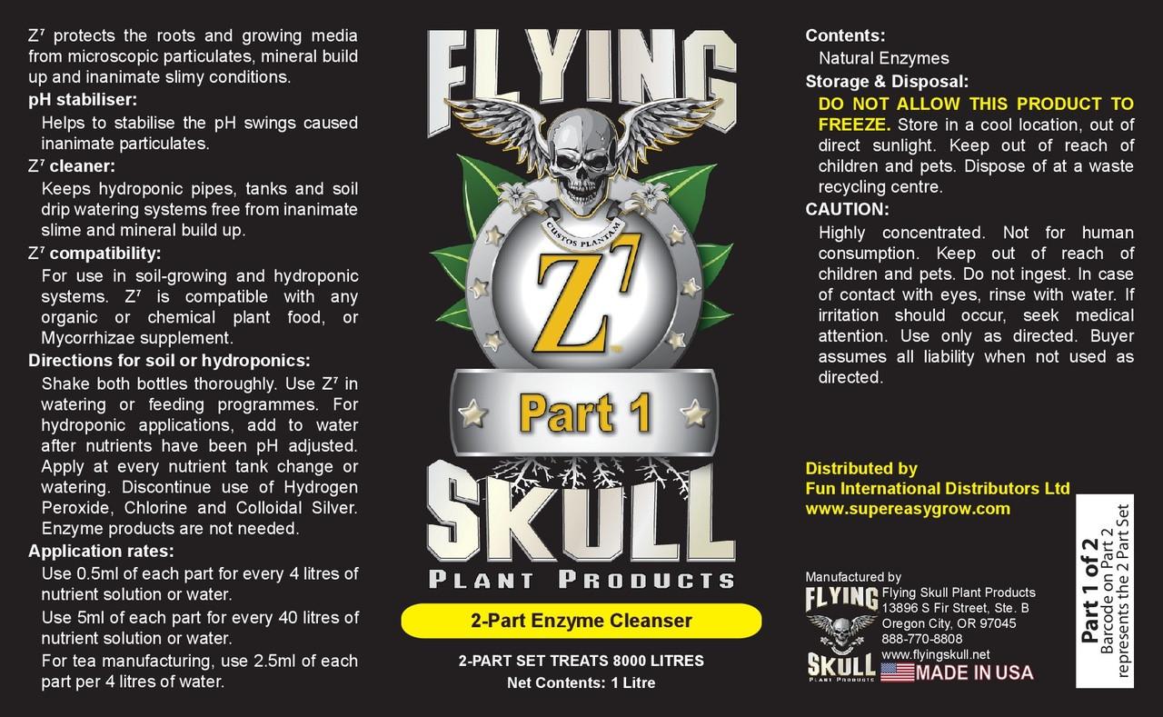 Flying SKull Z7 Enzyme Cleanser 1 litre Bottles Label Part 1