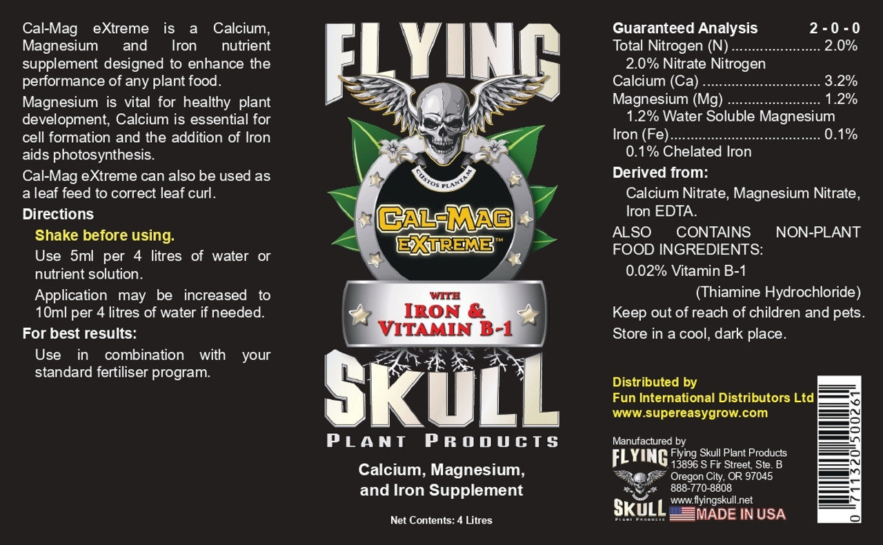 Flying SKull Cal-Mag eXtreme Product Label