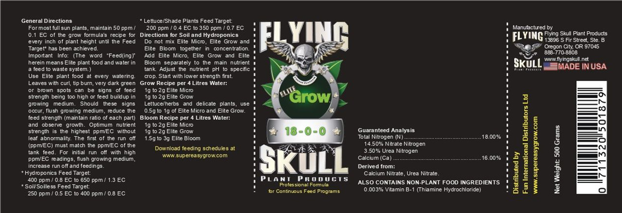 Flying Skull Elite Grow EU Product Label