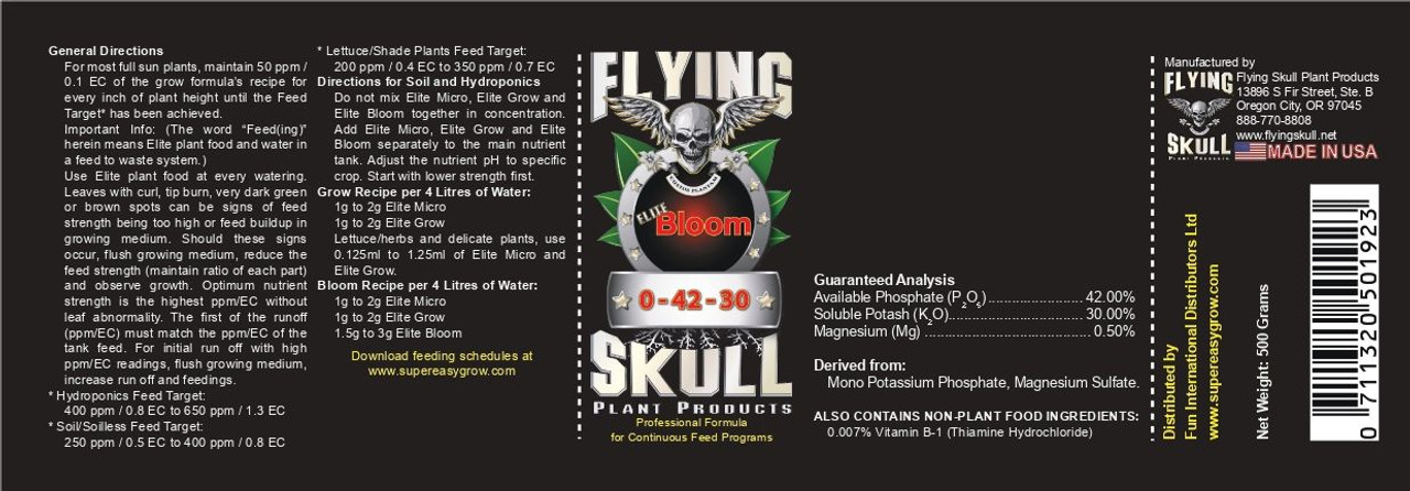 Flying Skull Elite Bloom EU Product Label 500g