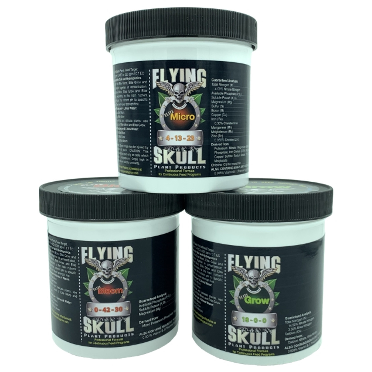 Flying Skull Elite Plant Foods Range - Elite Micro, Elite Bloom, Elite Grow