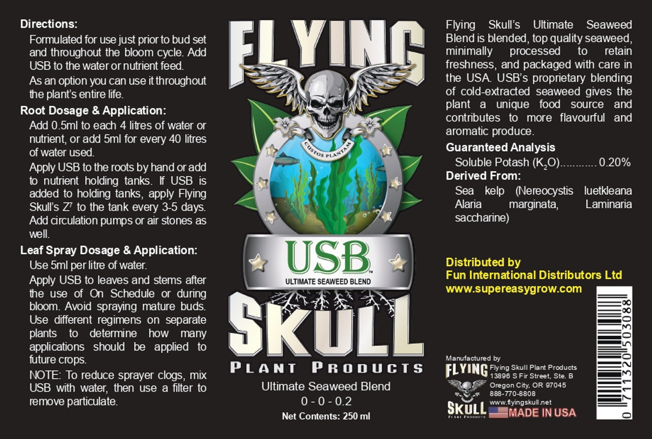 Flying Skull USB Ultimate Seaweed Blend EU 250ml Label