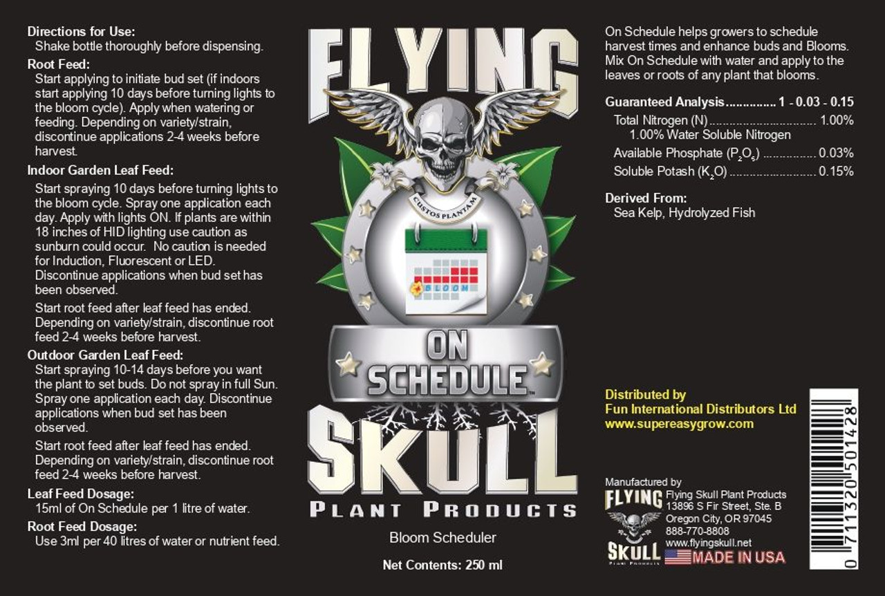 Flying Skull On Schedule 250ml bottle label