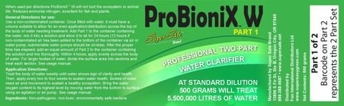 ProBioniX W 2-part Water Clarifier Label