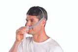 Man wearing a ResMed AirFit P10 Nasal Mask