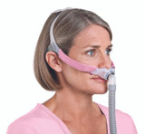 Side view of woman wearing ResMed Swift FX For Her Nasal Mask