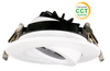 """4"""" LED Round Gimbal Recessed Light, Dimmable, 11W, 1000Lumens, Color Adjustable between 3000K.4000K and 5000K, CRI 80, White Finish"""