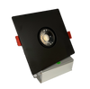 "3"" LED Downlight Recessed Gimbal, 8W, 600 lumens, 3000K, Trim 4"" Square BK"