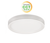 "5"" Round LED slim surface mount downlighting colour adjustable between 3000K, 4000K and 5000K dimmable 10W 600 Lumens CRI 80 damp/wet listed white finish"