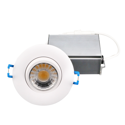 LED Gimbal Light Round, 3 Inch, Dimmable, 120V, 8W, 600 Lm, 75Lm/w, CRI 80, 40° Beam with 30° tilt and 360° rotation, White