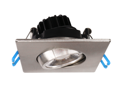 3 Inch LED Gimbal Light Square, Dimmable, 120V, 8W, 600 Lm, 75Lm/w, CRI 80, 40° Beam with 30° tilt and 360° rotation, Brushed Nickel