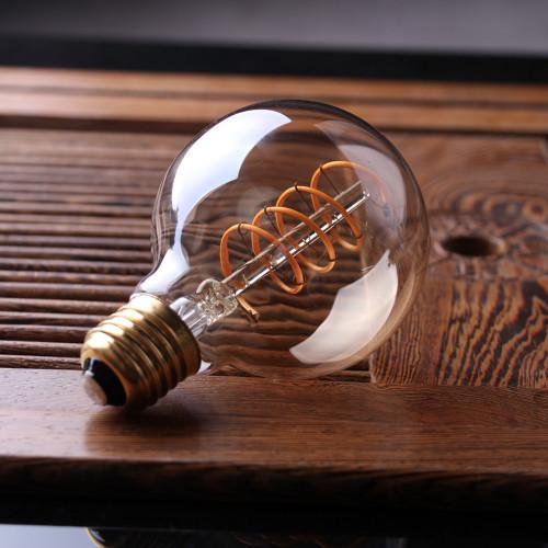 LED Globe G80 Curved Gold Decorative bulb, 4W, 200 Lm, E26, 2200K