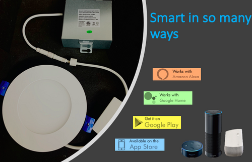 """Smart Lighting- 4"""" Round  LED Slim Panel  Dimmable 9 WIC Rated cETLus Listed White"""