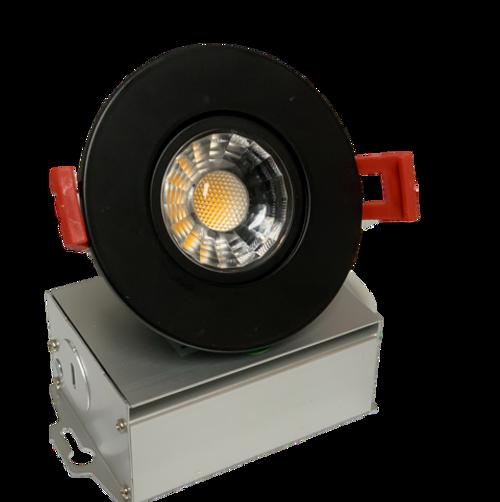 "3"" LED Downlight Recessed Gimbal, 8W, 600 lumens, 3000K, Trim 3"" Round BK"