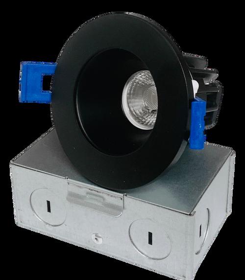 "2"" Round LED Regressed Downlight, Dimmable, 8W, 600 Lumen, 5CCT, Wet location, CRI90, Black"