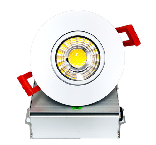 "3"" LED Downlight Recessed Gimbal, 8W, 600 lumens, 3000K, Trim 3"" Round WH"