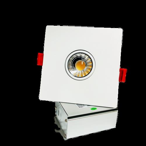 "3"" LED Downlight Recessed Gimbal, 8W, 600 lumens, 3000K, Trim 4"" Square White"
