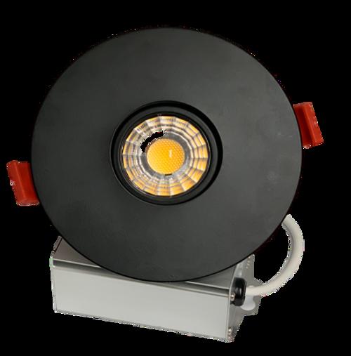 "3"" LED Downlight Recessed Gimbal, 8W, 600 lumens, 3000K, Trim 4"" Round Black"