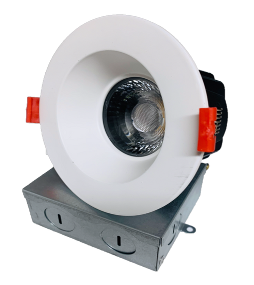"""4"""" Square LED Regressed Downlight, Dimmable, 15W, 5CCT(2700K,3000K, 3500K,4000K, 5000K), 1100Lumens, CRI90, Wet Location Rated, White Round Finish"""