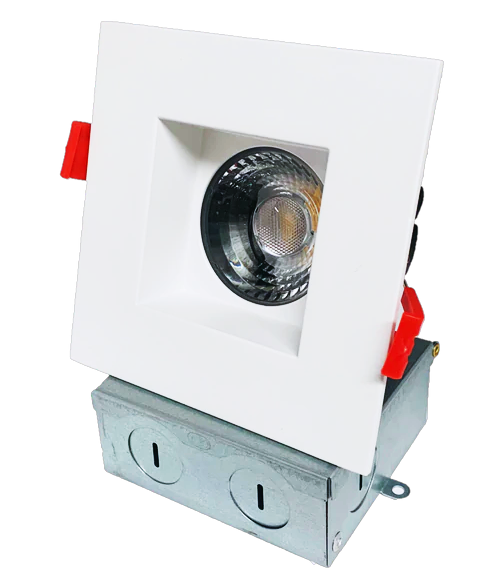 """4"""" Square LED Regressed Downlight, Dimmable, 15W, 5CCT(2700K,3000K, 3500K,4000K, 5000K), 1100Lumens, CRI90, Wet Location Rated, White Finish"""