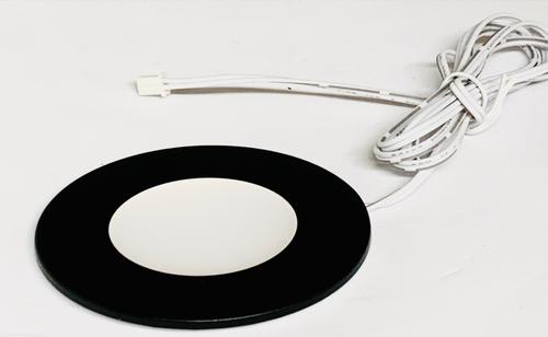 Round Ultra Slim LED Puck Light, Dimmable, 2.2W, 3000K, 150 Lumens, Black Finish