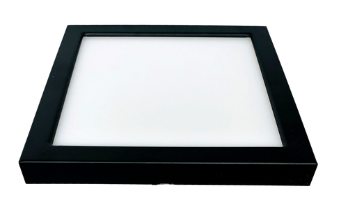 """6"""" Square LED Slim Surface Mount Downlighting, Dimmable, 15W, 600 Lumens, Colour Adjustable Between 3000K, 4000K and 5000K, CRI 80 Damp/Wet location,  Black Finish"""