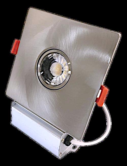 "3"" Square LED Downlight Recessed Gimbal 8W, 600 Lumens, 3000K, Trim 4"" Brushed Nickel"