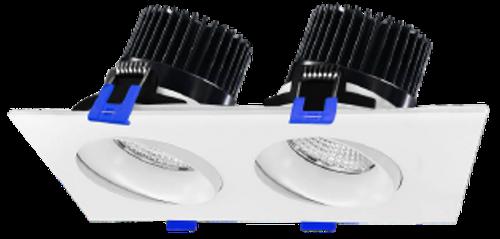 "3.5"" LED Regressed Downlight 2 Head Combo, 24W, 1950 Lumens, 5CCT Adjustable(2700K, 3000K, 3500K, 4000K, 5000K), Damp/Wet Location Rated,White"
