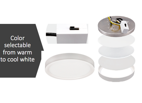 5 Inch LED slim surface mount downlighting, color adjustable from warm to cool white,round, dimmable, 10W, 600 Lm, CRI 80, damp/wet listed, white, cETLus Listed, 5 year warranty, IC Rated, 50,000 hours