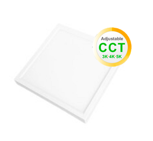 """6"""" Square LED Slim Surface mount downlighting colour adjustable between 3000K, 4000K and 5000K dimmable 15W 600 Lumens CRI 80 Damp/Wet listed white finish"""