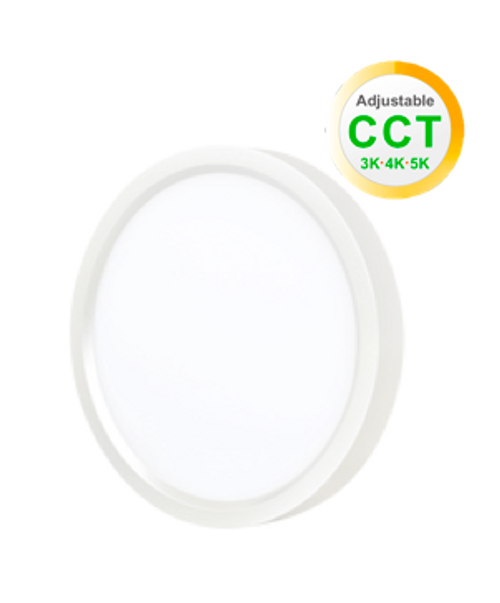 """9"""" Round LED Slim Surface Mount Downlight, Dimmable, 18W, 1200Lumen, Color Adjustable Between 3000K, 4000K and 5000K, CRI80, cETLus Listed, Damp&Wet Location, 5-Year Warranty, White"""