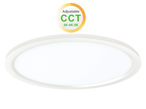"""12"""" Round LED Slim Surface Mount Downlighting, Dimmable, 22W, 1450 lumens, Colour adjustable Between 3000K,4000K and  5000K, CRI80,  cETLus Listed, Damp&Wet Location, Estar, 5-Year Warranty, White"""