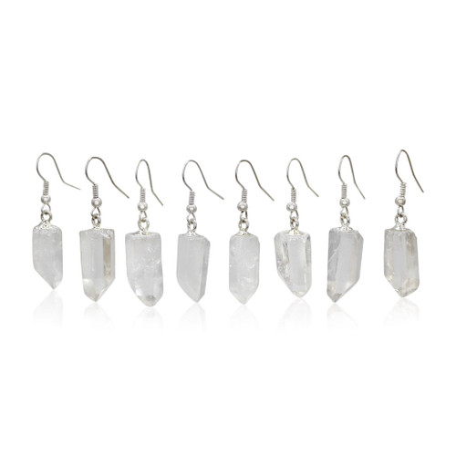 Raw Clear Quartz Points Earrings