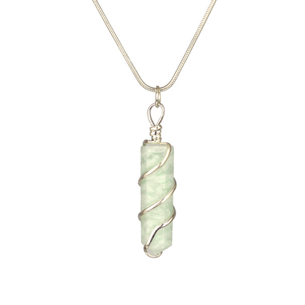Amazonite Wrapped Coil Pendant Necklace