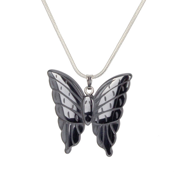 Hematite Butterfly Pendant Necklace