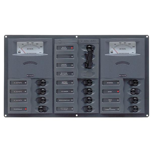 BEP AC Circuit Breaker Panel w\/Analog Meters, 12SP 2DP AC230V Stainless Steel Horizonal  [900-AC3-AM]
