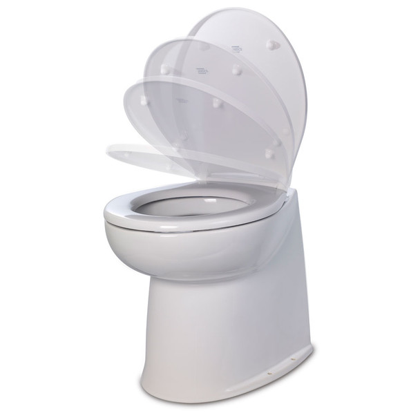 """Jabsco 17"""" Deluxe Flush Fresh Water Electric Toilet w\/Soft Close Lid - 24V  [58040-3024]"""