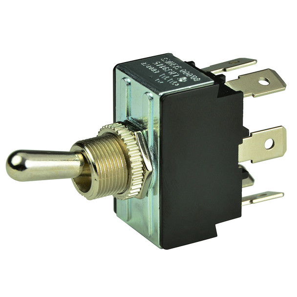BEP DPDT Chrome Plated Toggle Switch - ON\/OFF\/(ON) [1002014]