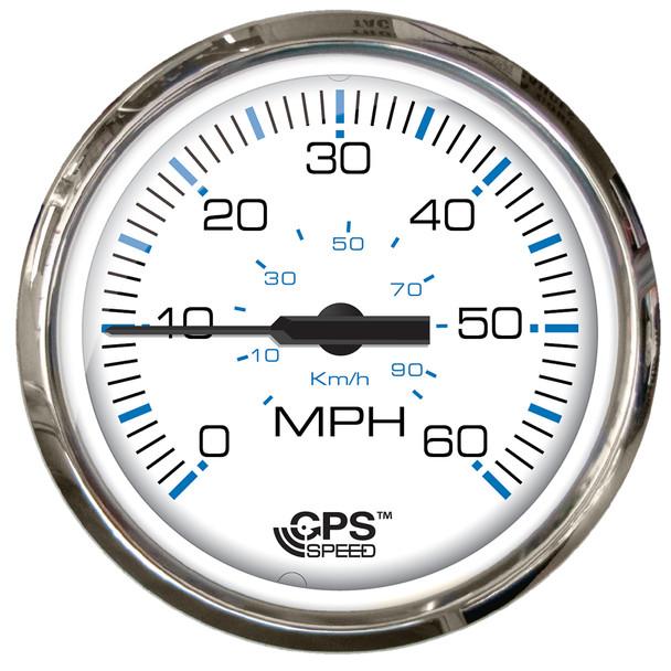 "Faria Chesepeake White SS 4"" Studded Speedometer - 60MPH (GPS) [33839]"